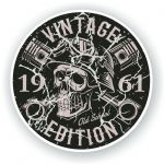Distressed Aged Vintage Edition Year Dated 1961 Biker Skull Roundel Vinyl Car Sticker Decal 87x87mm